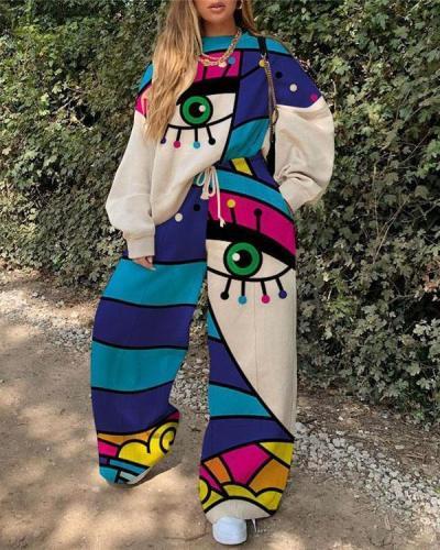 Fashion Ladies Art Print Sport Suit