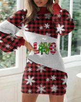 Christmas Print Slim Lantern Long Sleeve Dress