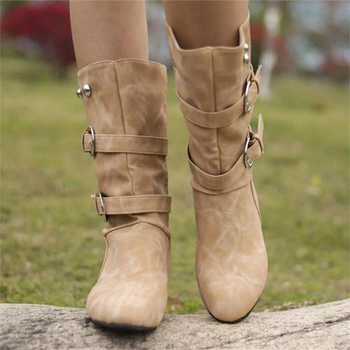 Mid-heel Boots with Belt Buckle