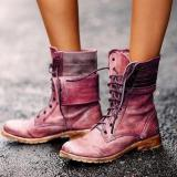 Classic Lace-Up Low-Heel Buskins Martin Boots