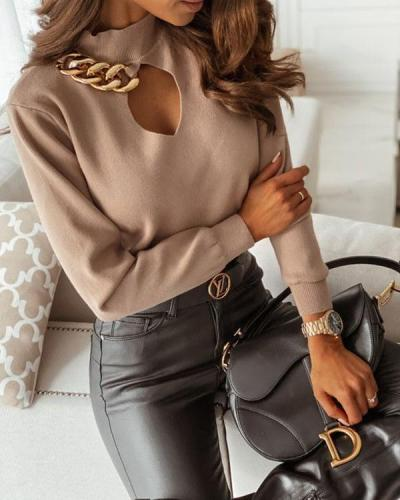 Autumn And Winter Chain Plain Sweater
