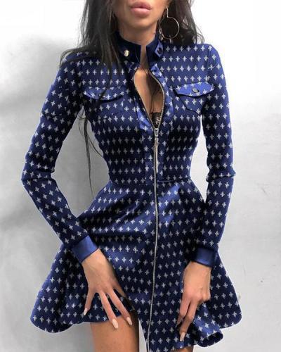 Plaid Above Knee Long Sleeve Regular A-Line Dress
