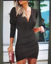 Solid Color Long Sleeve Bodycon Elegant Above Knee Dresses