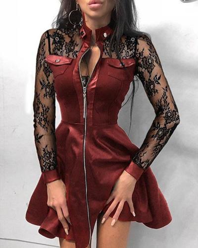 Patchwork Above Knee Long Sleeve Regular A-Line Dress