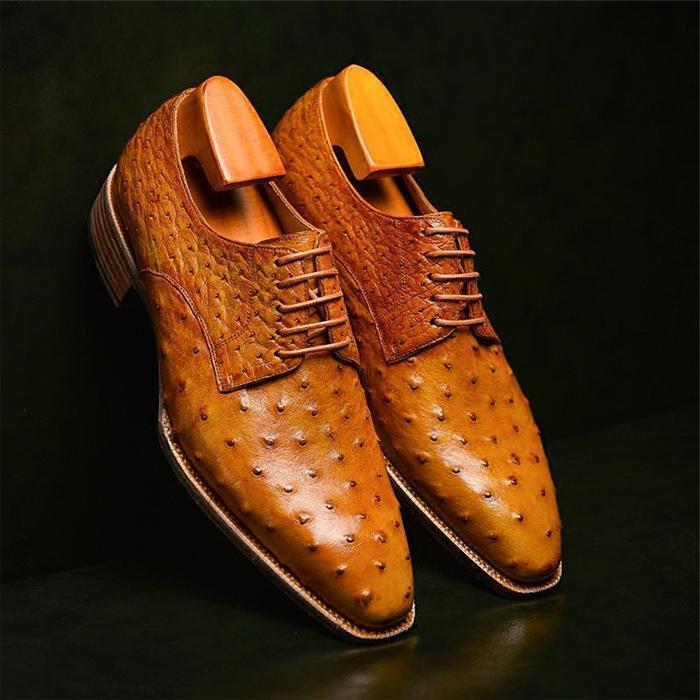 Formal Ostrich Derby Shoes for Men