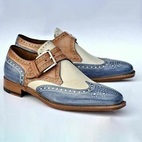 Men Vintage Buckle Leather Brogue Dress Shoes