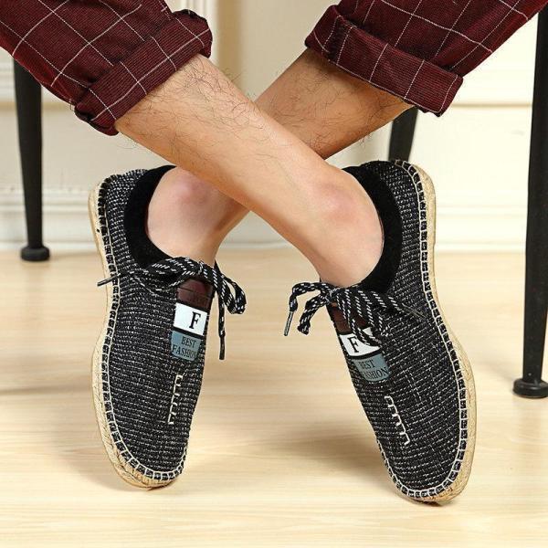 Men Linen Breathable Soft Flat Slip On Espadrilles