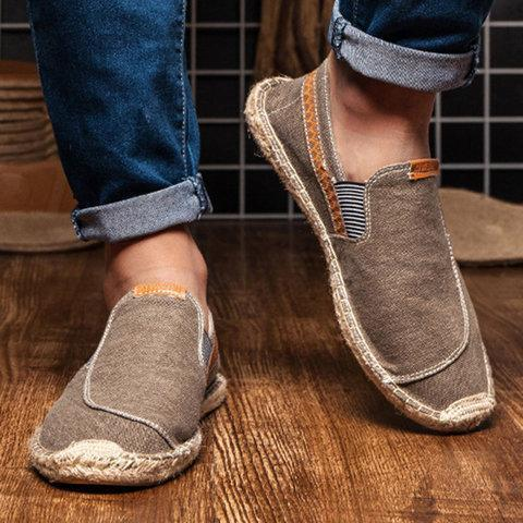 Men's Canvas Elastic Band Flats Loafers