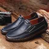 Large Size Men's  Hand Stitching Comfy Soft Sole Slip On Leather Loafers