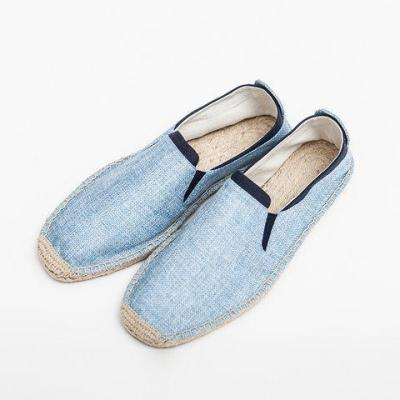 Color-block Linen Slip-On Flats Loafers