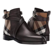 Checkered Leather Ankle Boots For Men