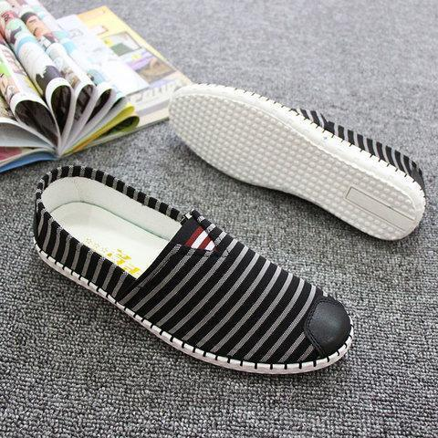 Men's Canvas Black-white Daily Casual Shoes