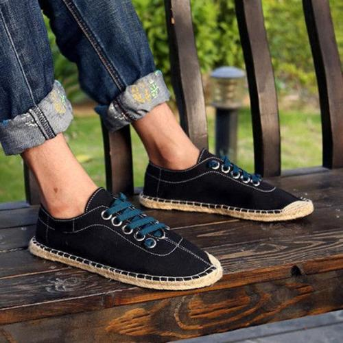 Men's Canvas Pure Color Korean Style Lace Up Casual Shoes