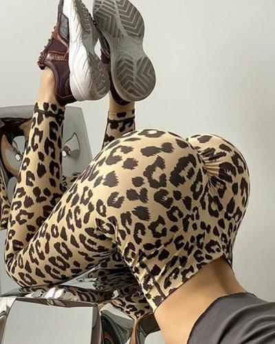 Outdoor Leisure Leopard Print Fitness Yoga Leggings