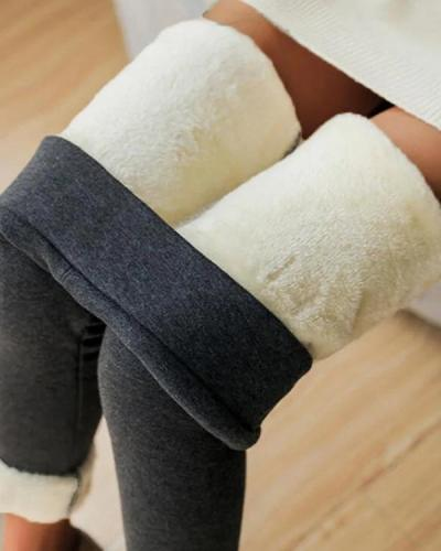 High Waist Casual Fleece Lined Leggings Pants