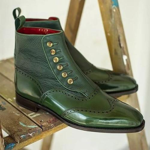 Men's Green Bullock Engraved Pointed Boots