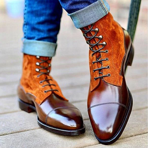 Orange Suede Brown Leather Ankle High Lace Up Boots