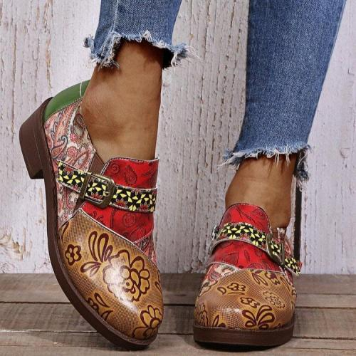 Floral Pattern Metal Buckle Chunky Heel Boots