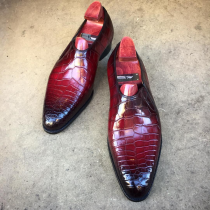 Handmade Men's Leather Bowknot Slip-On Shoes