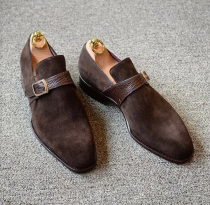 Handmade Men's Suede & Leather Dress Formal Shoes