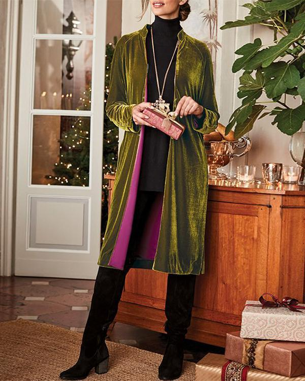 Women'S Retro Velvet Long Sleeve Coat