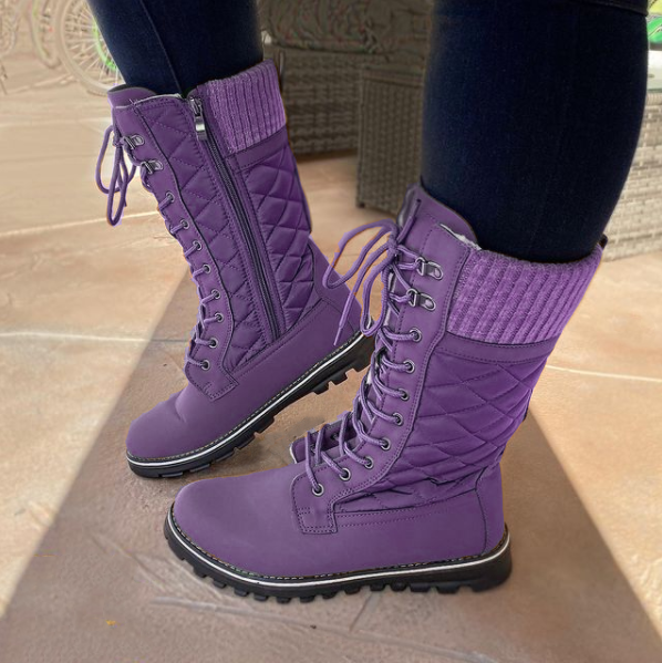 Women's Fashion Winter Knitted Lace-Up Boots
