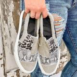 Pieced Raw Edge Animal Print Canvas Slip-On Flats