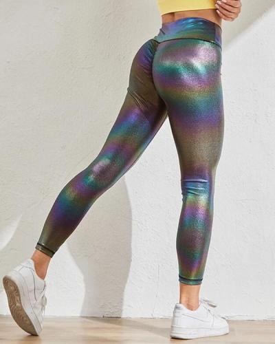 Pearlescent Elastic Push Up Workout Leggings