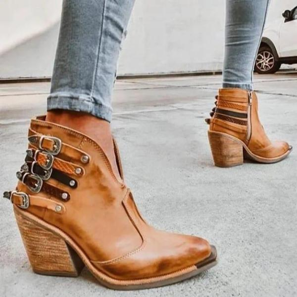 Artificial Leather Buckle Party & Evening Boots