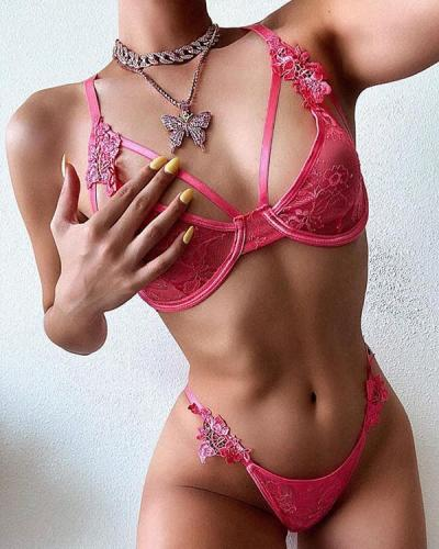 Pink Love!Flower Lace Sexy Lingerie Set