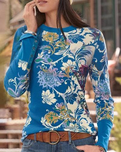 Women Ethnic Print Crew Neck Long Sleeve Shirts & Blouses