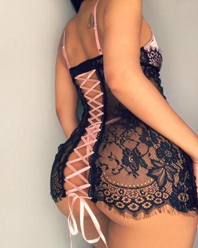 See Through Lace Insert Lace-up Back Babydoll