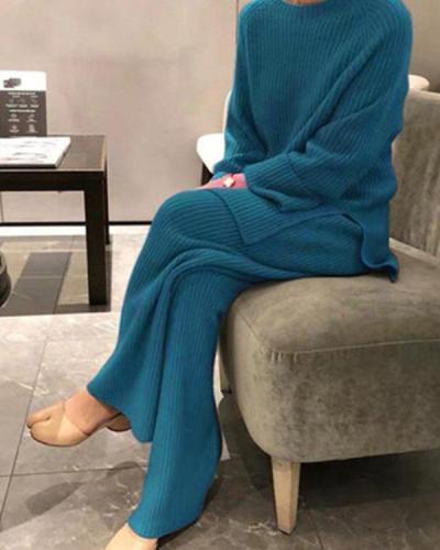 Casual Loose Loungewear Knit Sweater&Pants Set