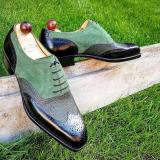 Handmade Suede Paneled Lace-up shoes