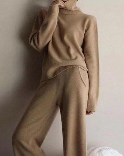 Solid Comfy TurtleneckSweater&Pants Set