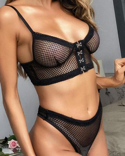 Solid Net Splicing Strap Lingerie Set