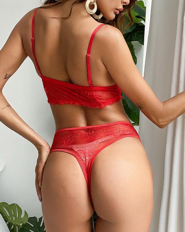 Eyelash Lace Spaghetti Strap Lingerie Sets