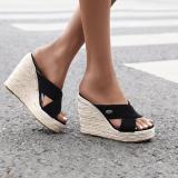 Women Wedge Heel Slip-On Open Toe Espadrille Sandals