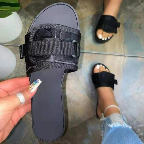 Women Casual Simple Pu Magic Tape Slip On Flat Slippers