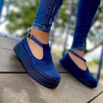 **Women's Comfy Suede Platform Sandals With Buckles