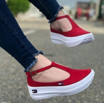 Women's Fashion Canvas Comfortable T-Shaped Design Platform Casual Shoes