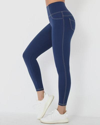 Faux Denim Leggings High Waist Seamless Leggings