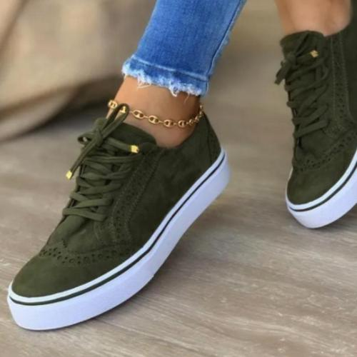 Women's Casaul Shearling Flat Heel Lace-up Sneakers