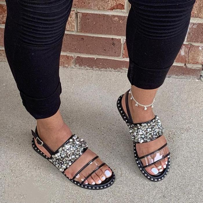 Women Roman Casual Rhinestone Slip On Flat Heel Sandals