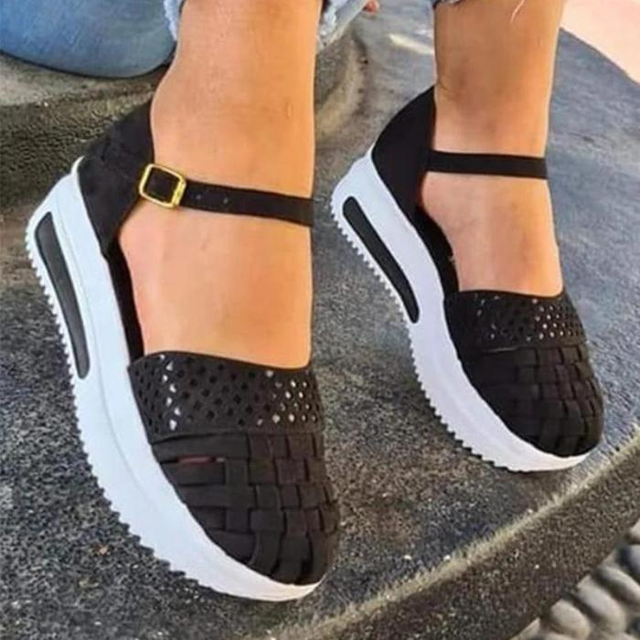 Women Casual Comfy Pu Hollow-out Buckle Thick Bottom Sandals