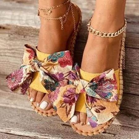 Women's Bowknot Flower Round Toe Cloth Flat Heel Slippers