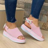 Women's Comfy Bow Platform Peep-toe Knit Sandals