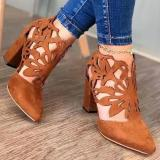 Women's Hollow-out Pointed Toe Heels Chunky Heel Sandals