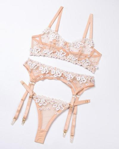 Pink Flower Embroidered Lace Lingerie Set