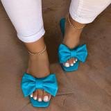 Flip Flop Block Heel Slip-On Bow Plain Slippers